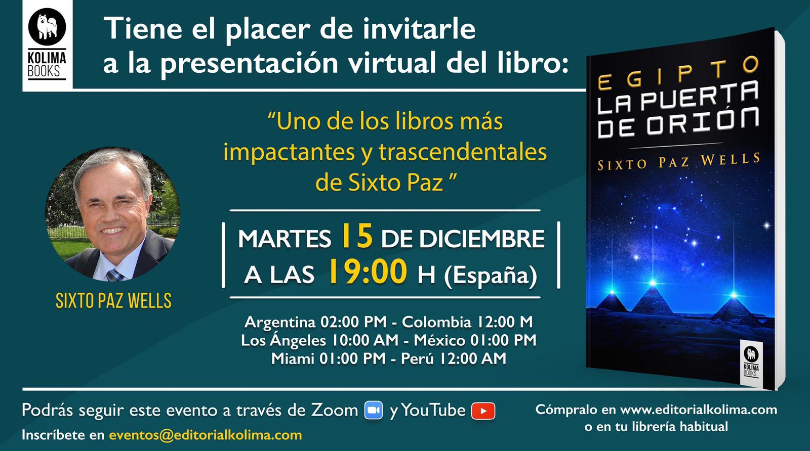 EDITORIAL KOLIMA BOOKS – PRESENTACIÓN DEL LIBRO «EGIPTO LA PUERTA DE ORIÓN»